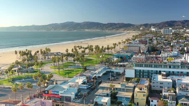 aerial venice beach boardwalk, california - venice beach stock videos & royalty-free footage