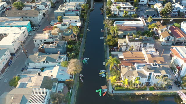 aerial venice beach canals, california - venice beach stock videos & royalty-free footage