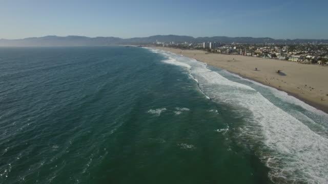 aerial venice beach, los angeles - venice beach stock videos and b-roll footage