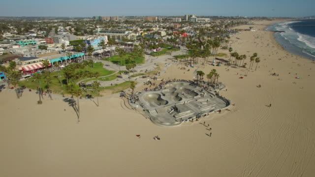aerial venice beach skatepark, los angeles - venice beach stock videos and b-roll footage