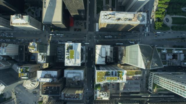 Aerial vertical overhead rooftop view of Metropolitan Chicago