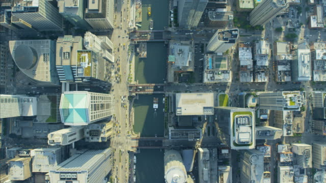 aerial vertical overhead rooftop view of metropolitan chicago - lakeshore stock videos and b-roll footage