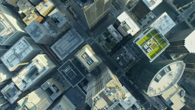 Aerial vertical overhead rooftop view Willis Tower Chicago
