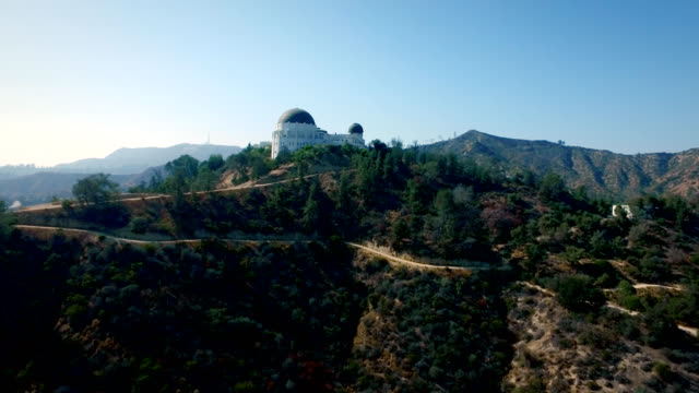 Aerial vertical track of the Griffith Observatory in Los Angeles California