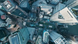 Aerial vertical view of rooftop financial district buildings, Singapore