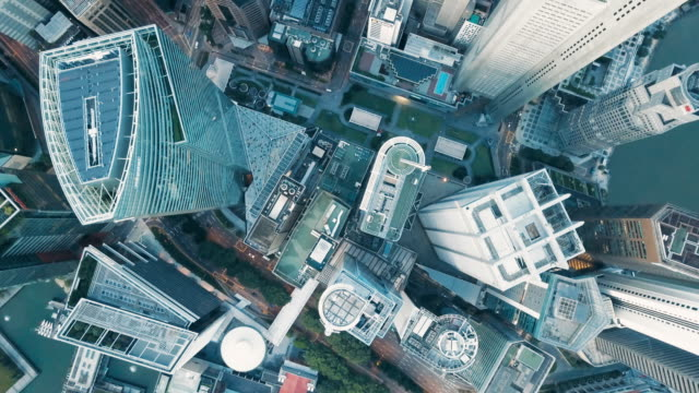 aerial vertical view of rooftop financial district buildings, singapore - above stock videos & royalty-free footage