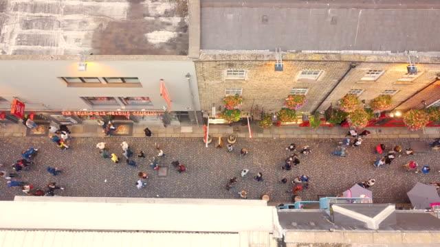aerial vertical view of temple bar, dublin/ ireland - dublin ireland stock videos and b-roll footage