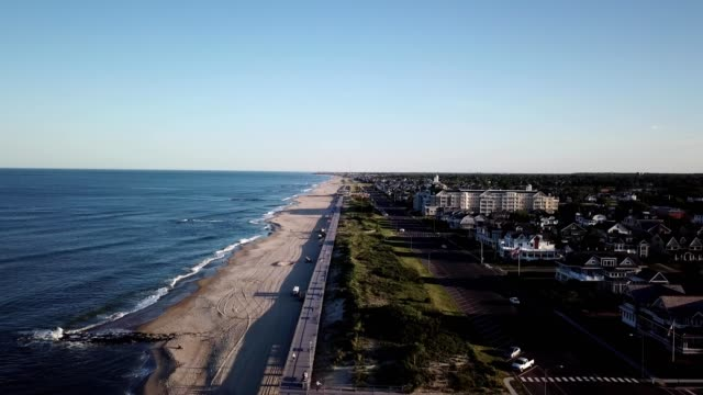aerial vew of homes on the coast of spring lake new jersey - ocean avenue stock videos & royalty-free footage