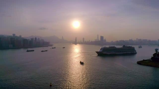 aerial victoria harbour, hong kong - hong kong stock videos & royalty-free footage