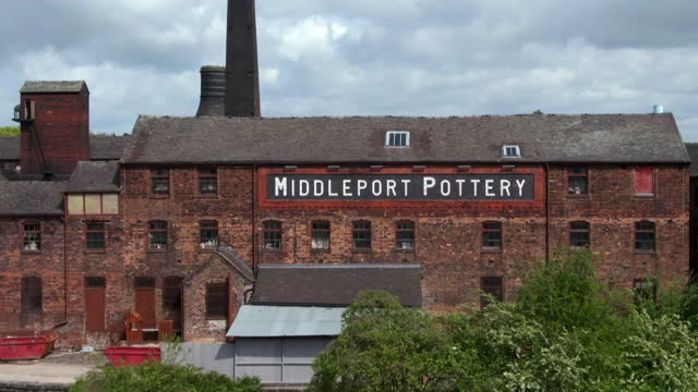 aerial victorian pottery factory, staffordshire - western script stock videos & royalty-free footage