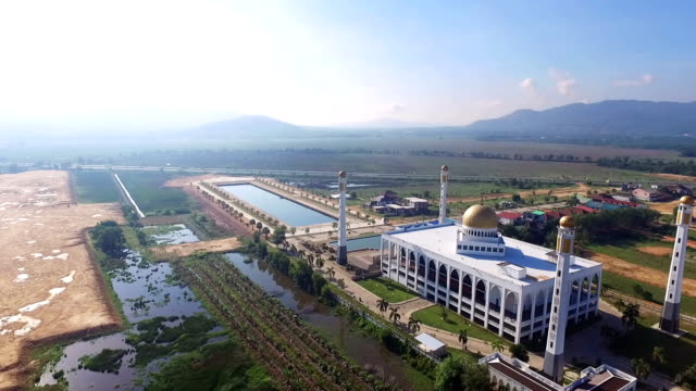 aerial video above mosque. thailand - famous place stock videos & royalty-free footage