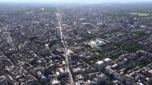 aerial video along oxford street, with views of centre point tower, british museum, soho, covent garden and bloomsbury areas - british museum stock videos & royalty-free footage
