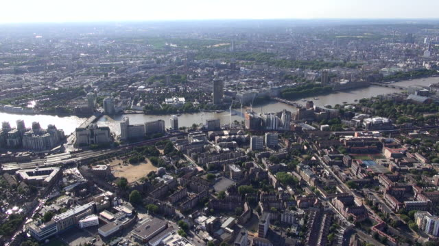 aerial video along the river thames from westminster bridge past lambeth bridge to st george wharf by vauxhall bridge, including lambeth and kennington with views over north london - lambeth stock videos & royalty-free footage