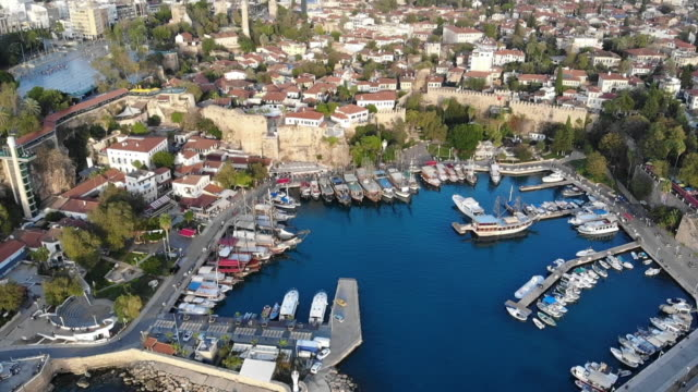 aerial video antalya old city and harbour - ozgurdonmaz stock videos and b-roll footage