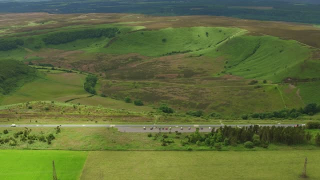 Aerial Video, approaching The Hole of Horcum-North York Moors National Park