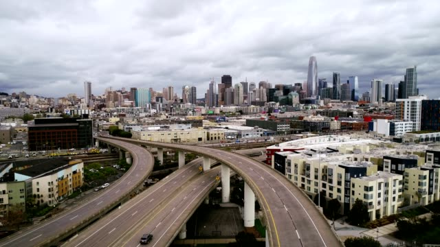 aerial video deserted freeway san francisco - san francisco california stock videos & royalty-free footage
