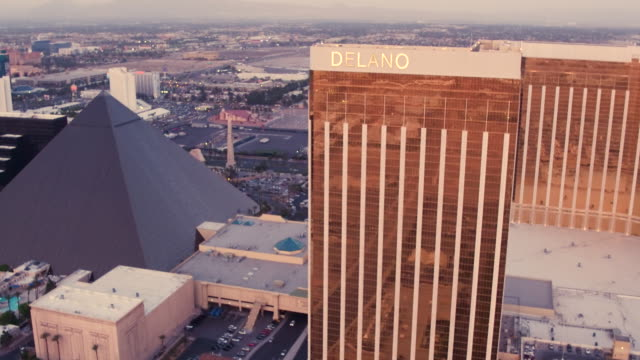 Aerial video flying over Las Vegas and McCarran International Airport  Sunset