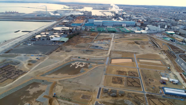 aerial video footage taken by a drone shows ishinomaki miyagi prefecture where work continues on creating a park and place for prayer memorial... - rebuilding stock videos & royalty-free footage