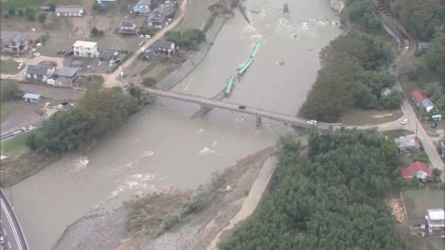 aerial video footage taken on oct 14 shows damage caused by typhoon no 19 in ibaraki and fukushima prefectures video taken on oct 14 mitokita smart... - ダメージ点の映像素材/bロール