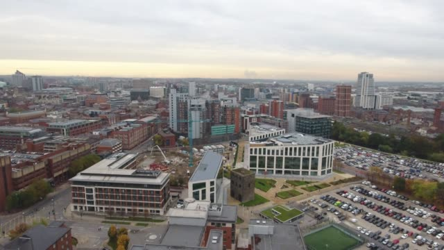 Aerial Video Leeds Cityscape Rising Shot