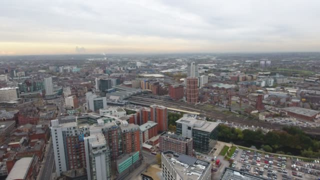 Aerial Video Leeds Skyline Moving Towards Train Station