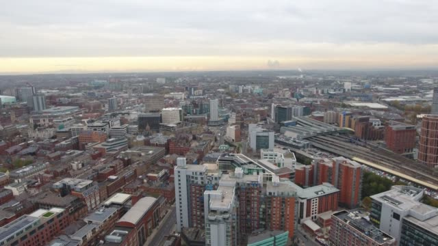 aerial video leeds skyline tracking left to right - leeds stock videos and b-roll footage