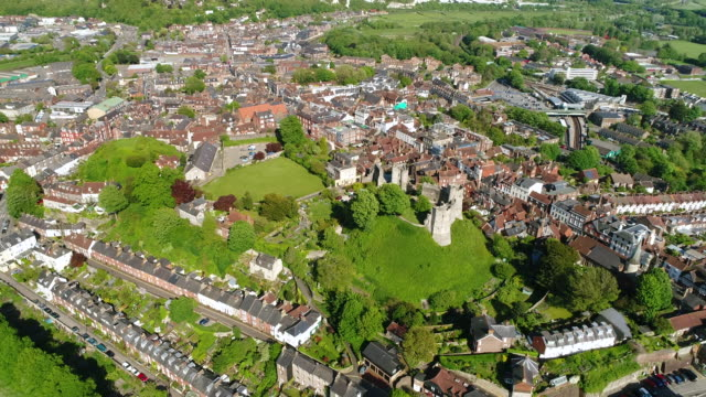 4K Aerial Video Lewes Castle Camera Backing Away and Climbing