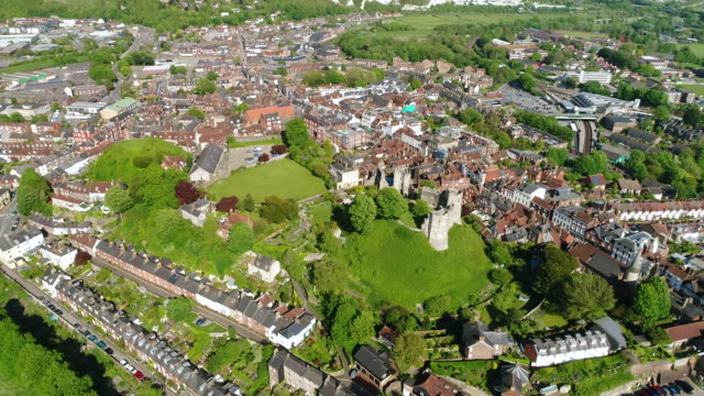 4K Aerial Video Lewes Castle in East Sussex Camera Descending Towards