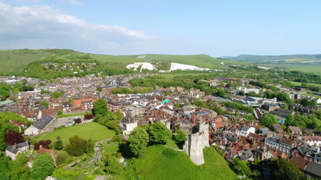 4K Aerial Video Lewes Castle in East Sussex Camera Descending