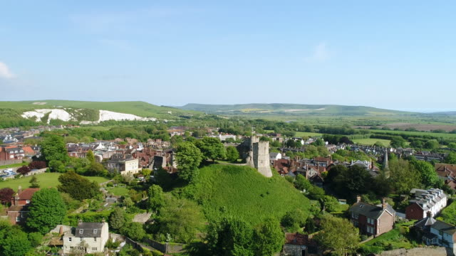 4K Aerial Video Lewes Castle in East Sussex Camera Rising High Pan Down