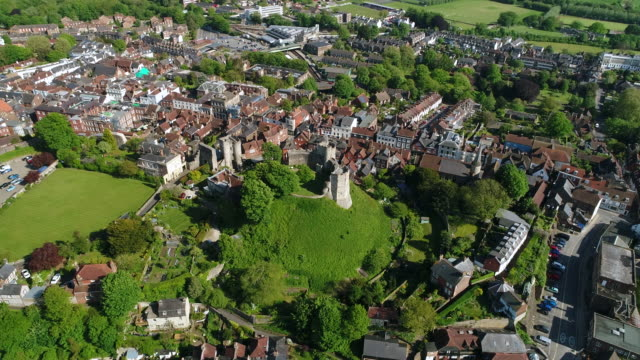 4K Aerial Video Lewes Castle in East Sussex Camera Track Left
