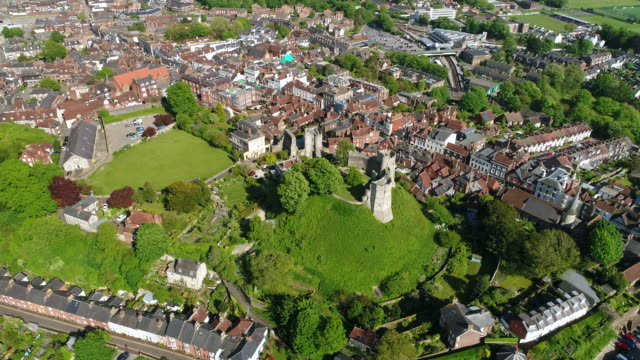 4K Aerial Video Lewes Castle in East Sussex Orbit