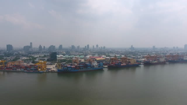 Aerial Video o Commercial Port with Containers Ship, Bangkok, Thailand.