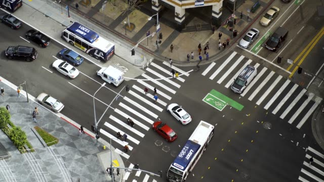 aerial video of a busy la intersection/crosswalk - 4k footage - road intersection stock videos & royalty-free footage