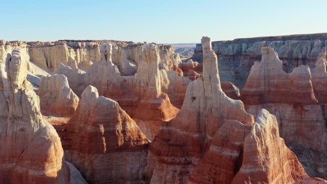 aerial video of arid landscape, coal mine canyon, arizona - drone footage - arizona stock videos & royalty-free footage