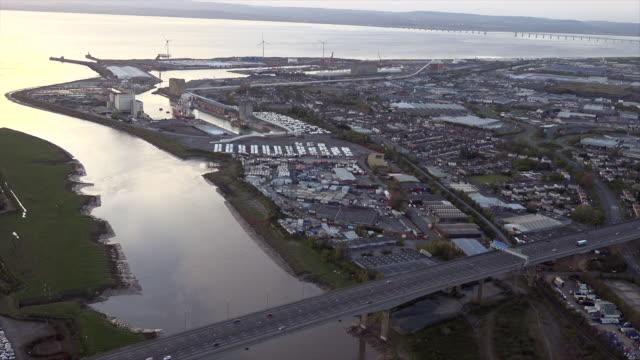 aerial video of avonmouth docks. bristol, uk. - bristol england stock videos & royalty-free footage