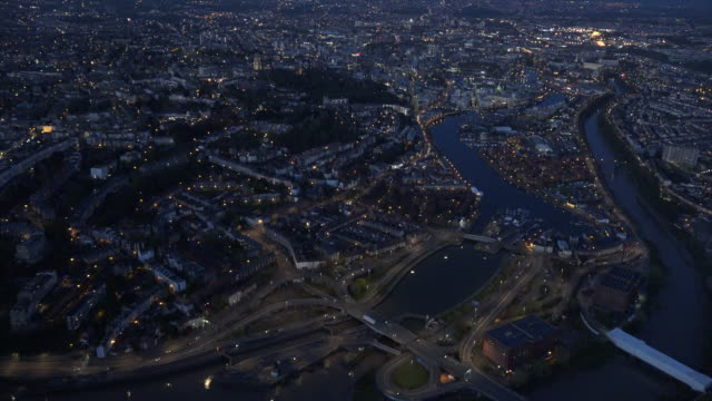 aerial video of bristol harbour by night. bristol, uk. - bristol england stock videos & royalty-free footage