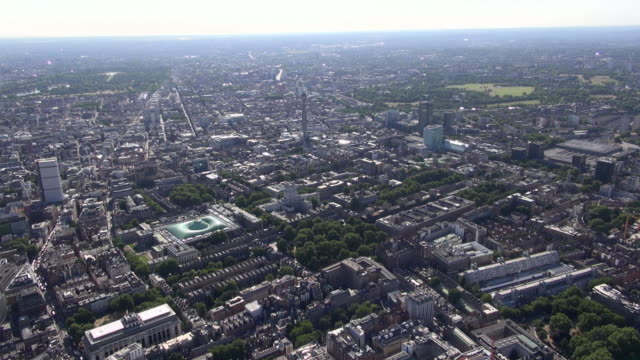 aerial video of british museum and bloomsbury area of london, including centre point tower, post office tower, euston station and oxford street - british museum stock videos & royalty-free footage