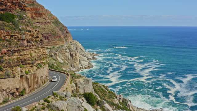 aerial video of chapman's peak drive - road stock videos & royalty-free footage
