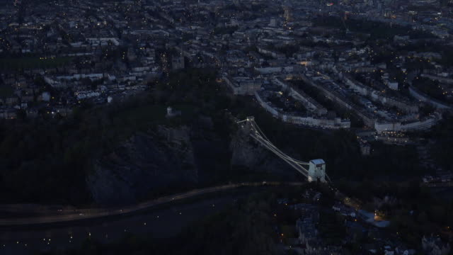 Aerial video of Clifton Suspension Bridge by night. Bristol, UK.