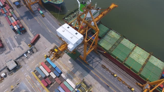 Aerial Video of Commercial Port with Containers Ship, Bangkok, Thailand.
