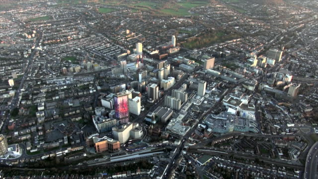 aerial video of croydon by dusk. - croydon england stock videos & royalty-free footage