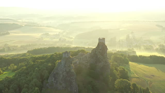 aerial video of czech republic castle, trosky castle - drone footage - traditionally czech stock videos & royalty-free footage