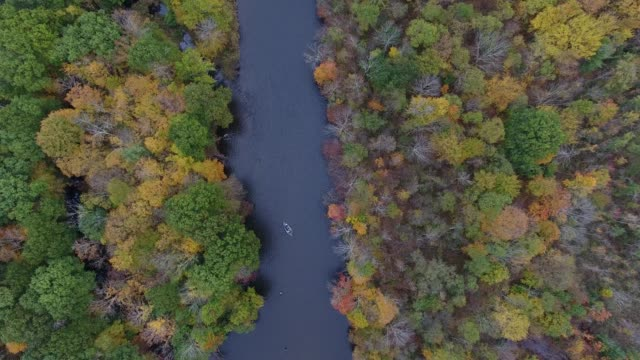 aerial video of driftboat and anglers fishing the salmon river in new york - eastern usa stock videos and b-roll footage