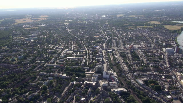 Aerial video of East Putney and Putney with views over south-west London