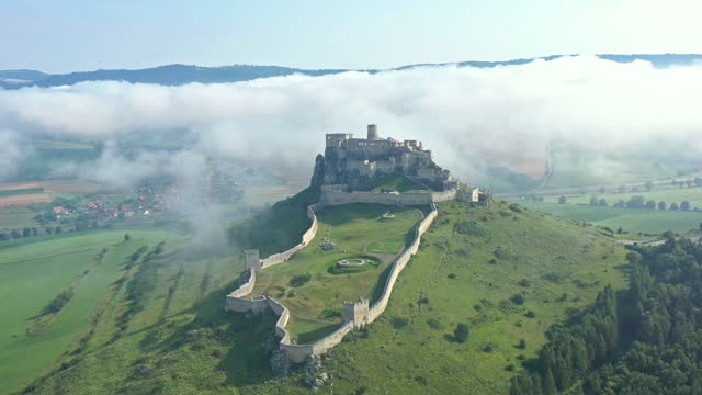 aerial video of european castle - surrounding wall stock videos & royalty-free footage