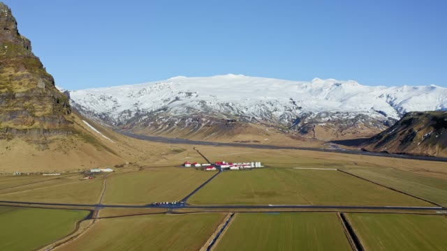 Aerial video of Eyjafjallajokull volcano at winter