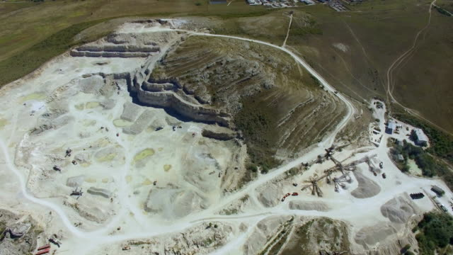 Aerial video of granite quarry