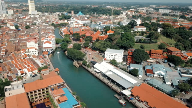 aerial video of historical area of melaka, showing the red historical building and its surrounding. - malacca stock videos and b-roll footage
