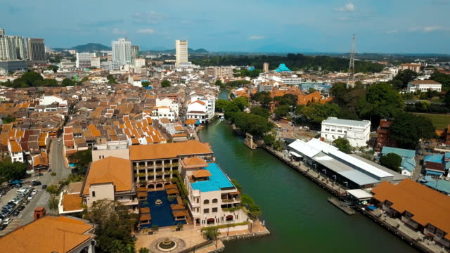 aerial video of historical area of melaka, showing the red historical building and its surrounding at malaysia - malacca stock videos and b-roll footage